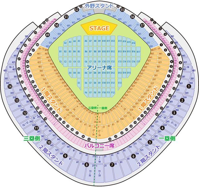 東京ドームの座席表