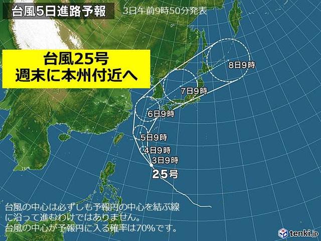 台風25号の進路予想